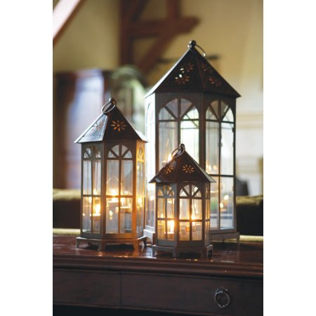 "Walmart Seller Central >> Set of 3 Black Decorative Glass Tea Light Candle Lanterns 24"" - Walmart.com"