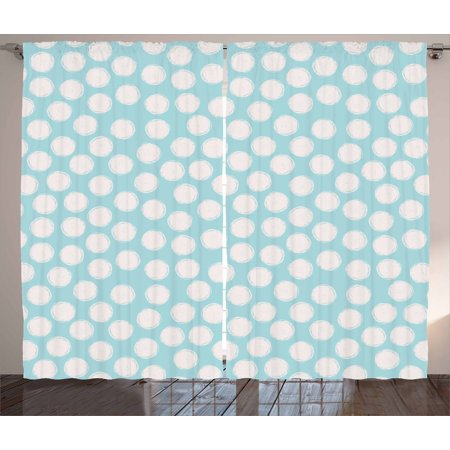 Kids Curtains 2 Panels Set, Doodle Style Spots on a Pale Blue Background Artistic Boys Kids Baby Pattern, Window Drapes for Living Room Bedroom, 108W X 108L Inches, Pale Blue and White, by Ambesonne (Toddler Boys Bedroom)