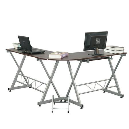 Zimtown L-Shaped Desk Corner Computer Table PC Latop Study Office Desk Workstation Brown