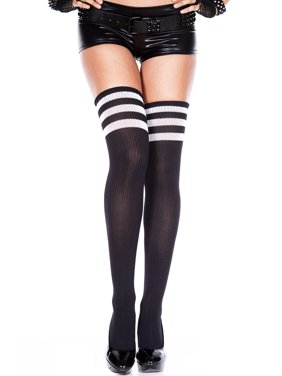 c1a41cdf9ba7a Product Image Athlete acrylic thigh hi with striped top 4245-BLACK/WHITE.  Product TitleMusic LegsAthlete ...