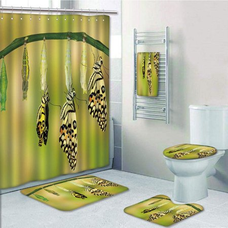 PRTAU Swallowtail Butterfly Transformation of Lime Butterfly Natural Life Cycle 5 Piece Bathroom Set Shower Curtain Bath Towel Bath Rug Contour Mat and Toilet Lid Cover Swallowtail Life Cycle