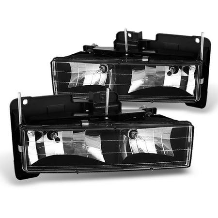 - Fits Black 88-99 Chevy GMC C10 C/K Pickup Silverado Sierra Headlights Lamps