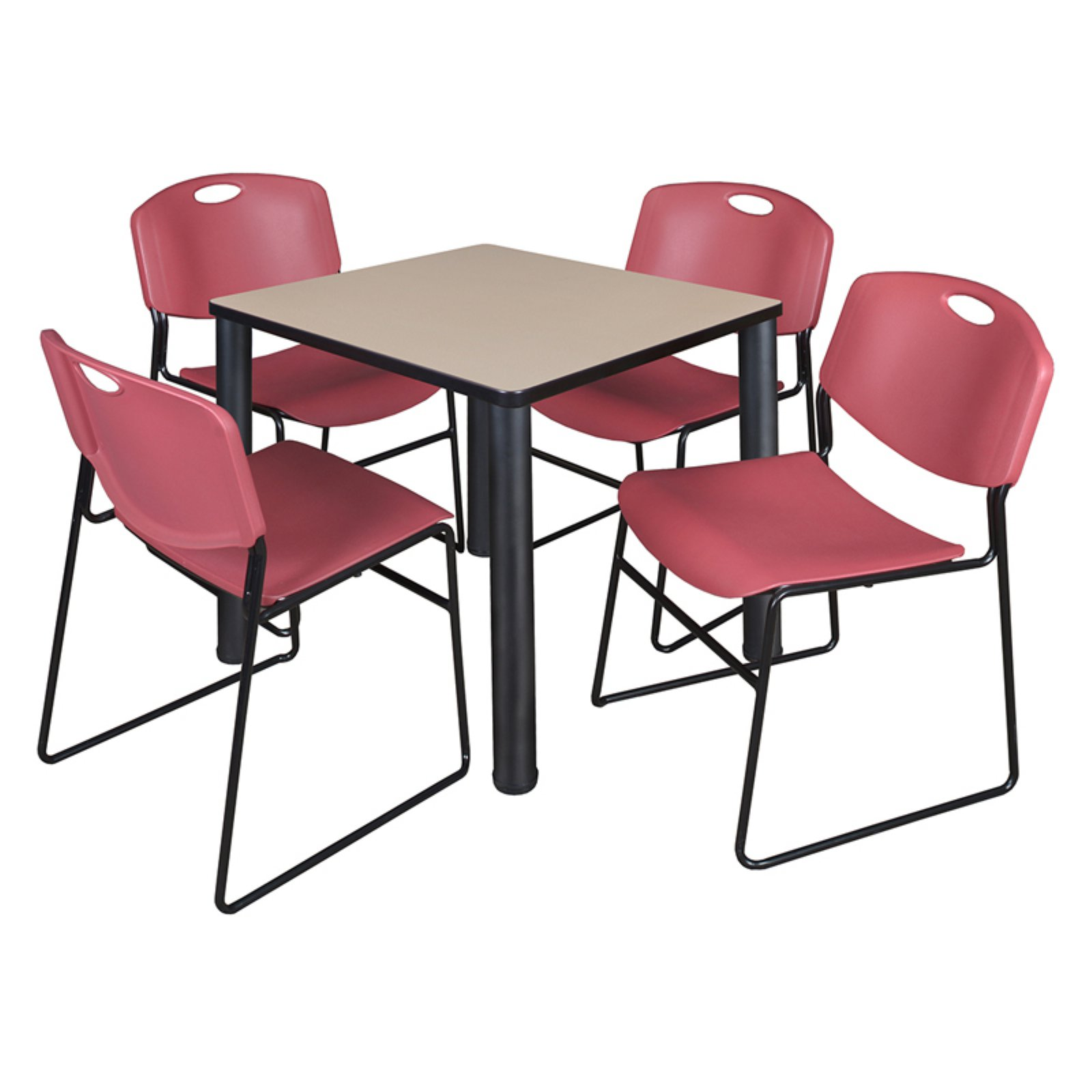"""Kee 36"""" Square Breakroom Table- Beige/ Chrome & 4 Zeng Stack Chairs- Blue"""