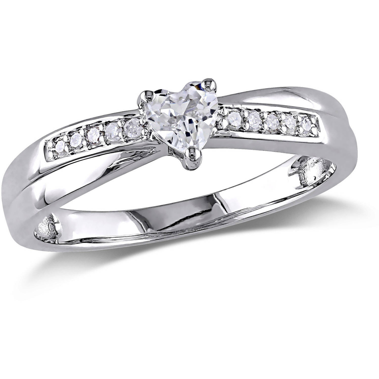 Miabella 1/4 Carat T.G.W. Created White Sapphire and Diamond-Accent Sterling Silver Heart Engagement Ring