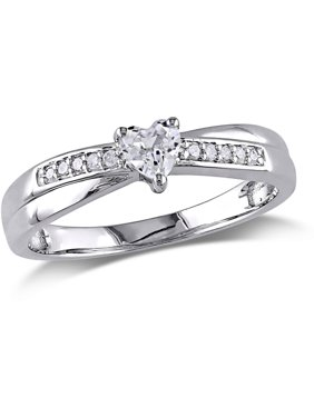 1/4 Carat T.G.W. Created White Sapphire and Diamond-Accent Sterling Silver Heart Promise Ring