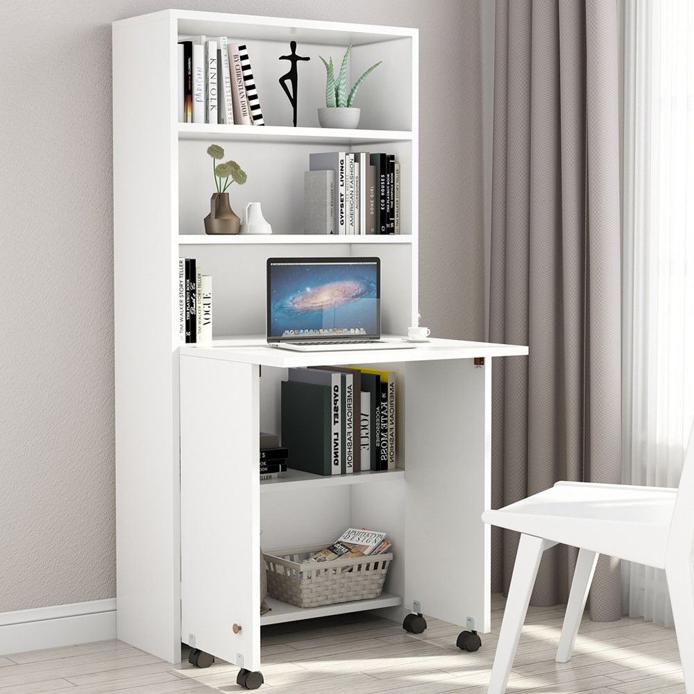 Terrific Tribesigns Folding Computer Desk Compact Pc Laptop Study Writing Desk With Shelves Fold Out Storage Cabinet For Bedroom Home Office White Interior Design Ideas Tzicisoteloinfo