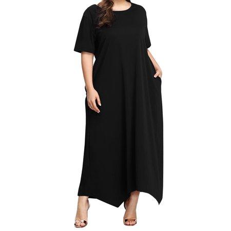 Short Sleeve Plus Size Women Solid Loose Long Dress