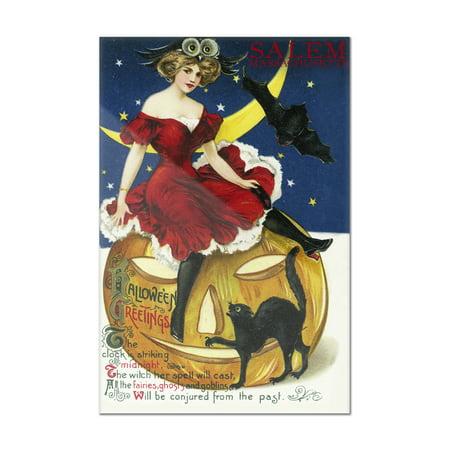 Salem, Massachusetts - Halloween Witch & Jack-O-Lantern - Vintage Postcard (8x12 Acrylic Wall Art Gallery Quality)