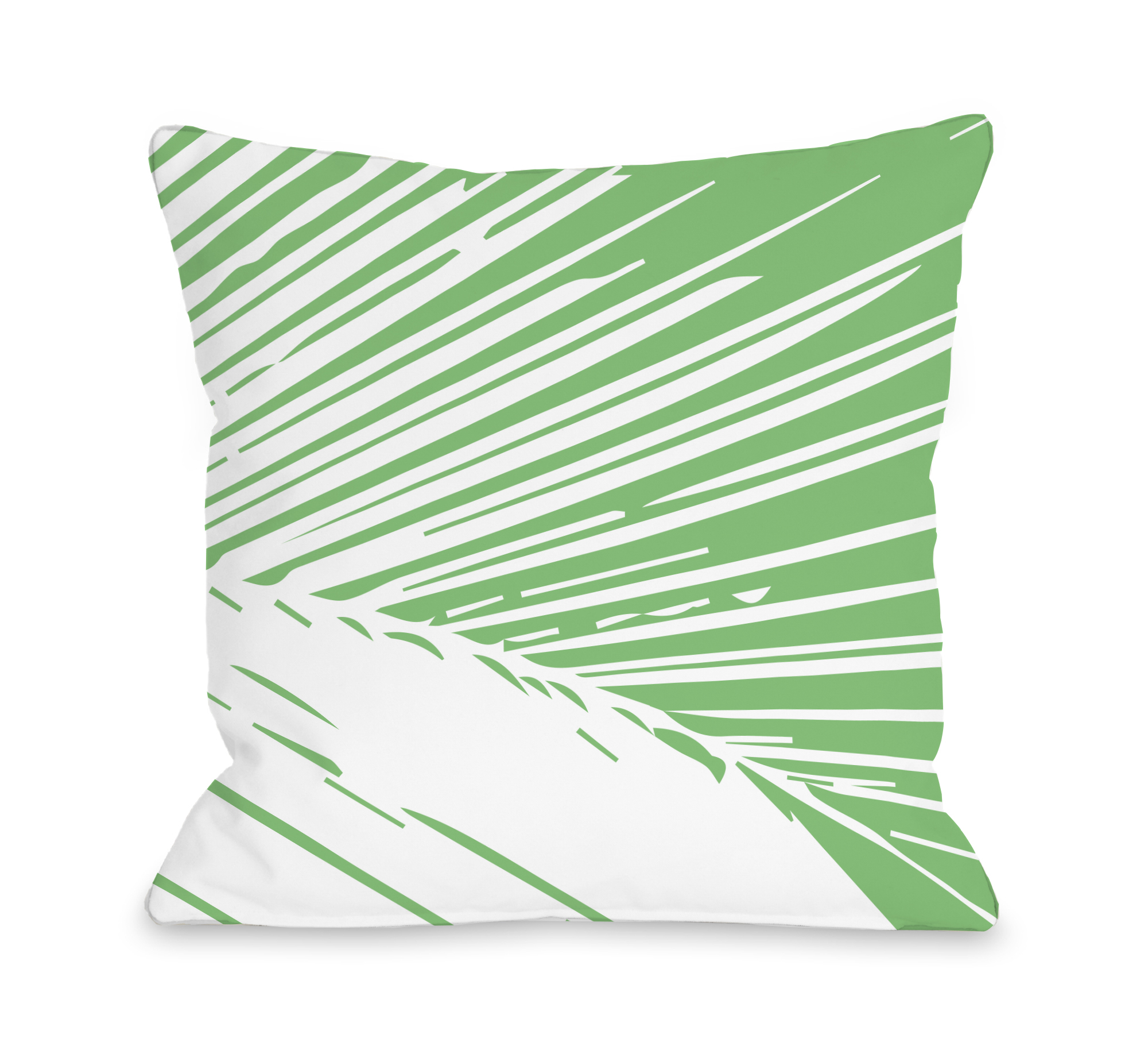 Alaiya Palm Leaves - Green 18x18 Pillow by OBC