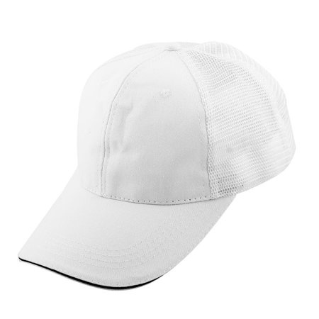 Unisex Cotton Blends Meshy 6 Panel Golf Baseball Cap Outdoor Sports Hat White