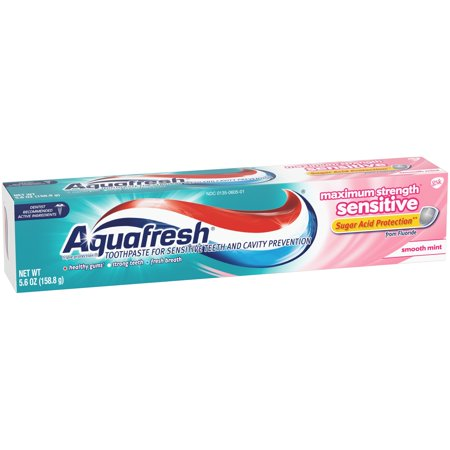 (4 Pack) Aquafresh Maximum Strength* Sensitive Smooth Mint Toothpaste 5.6 oz. Box