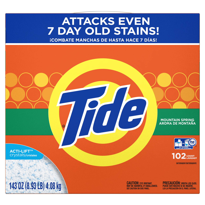Tide Powder Laundry Detergent, Mountain Spring, 102 loads, 143 oz