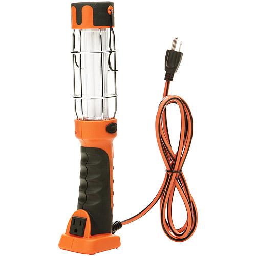 Designers Edge 16/3-Gauge Fluorescent Work Light with Grounded Outlet, Orange, 13-Watt, 6-Foot