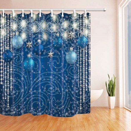 Silver Balls Decor (ARTJIA Christmas Decor Blue Balls Silver Stars Lights Snowflake for New Year Polyester Fabric Bath Curtain, Bathroom Shower Curtain 66x72)
