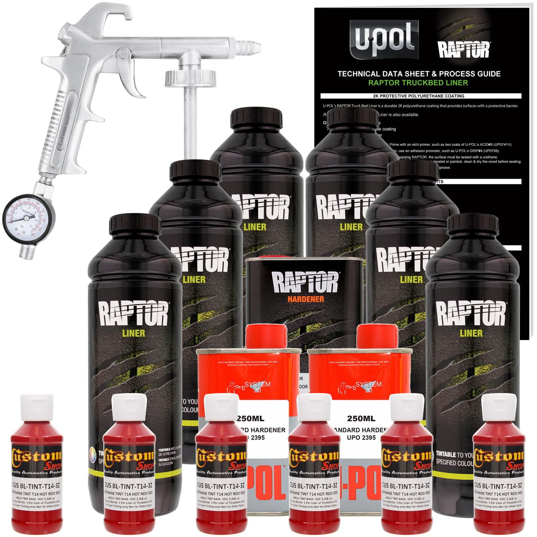 U-POL Raptor Hot Rod Red Urethane Spray-On Truck Bed Liner Kit w/ FREE Custom Coat Spray Gun with Regulator, 6 Liters