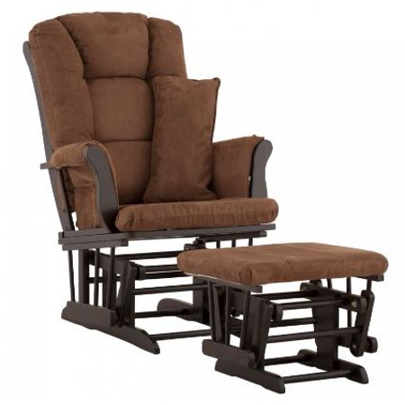 Storkcraft Tuscany Glider and Ottoman with Lumbar Pillow Black Finish and Chocolate...