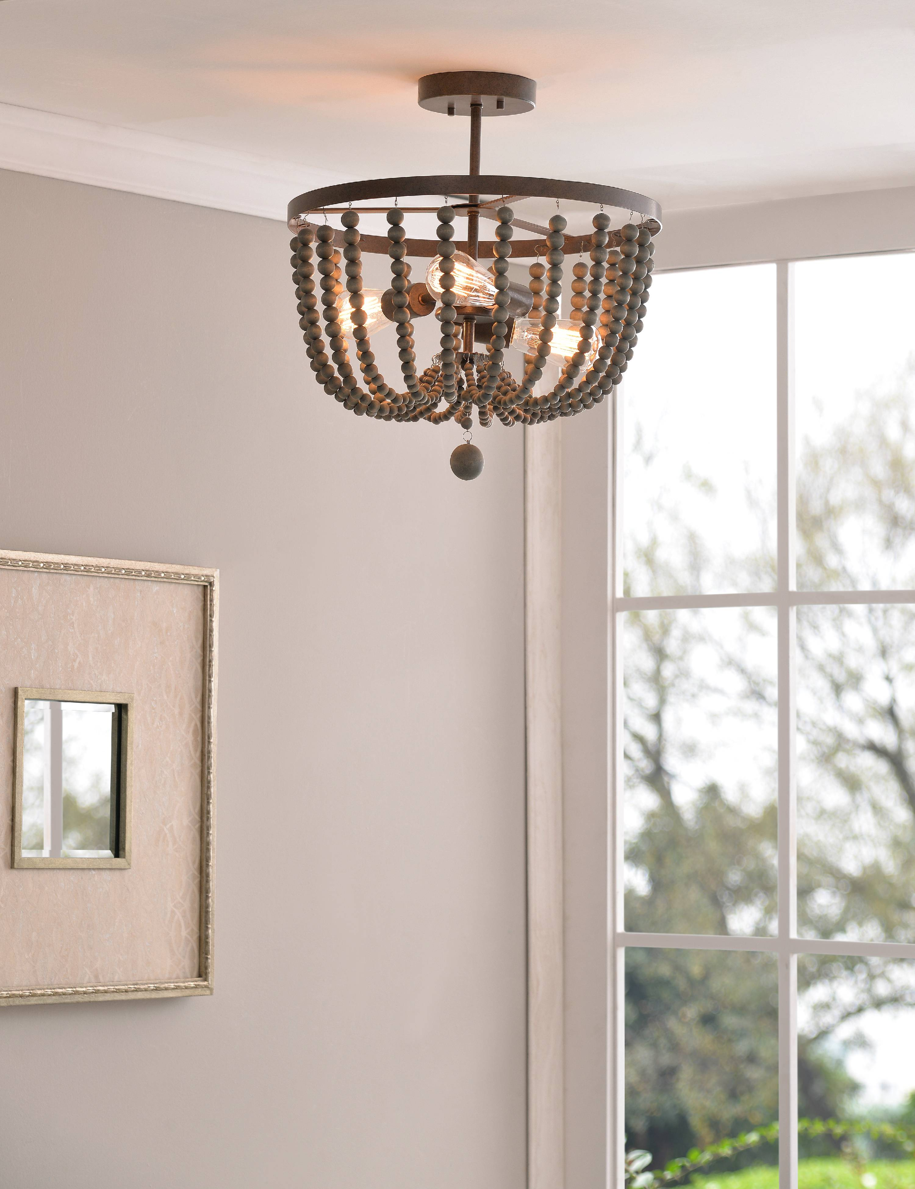 Dumas 3 Light Wood Bead Semi Flush Mount Walmart Com Walmart Com