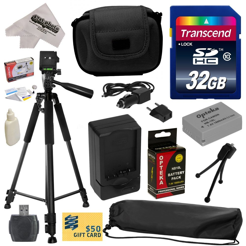 Best Value Kit for Canon PowerShot G1X G16 G15 SX50HS SX40HS SX50 SX40 HS Digital Camera with 32GB SDHC Card, Reader, Opteka NB-10L 1800mAh Battery, Case, Tripod, Cleaning Kit, $50 Print Gift Card