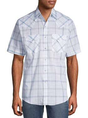 Plains Men's and Big Men's Short Sleeve Plaid Western Shirt