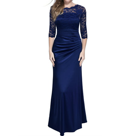 MIUSOL Women's Retro Floral Lace Vintage 2/3 Sleeve Slim Ruched Wedding Maxi Dresses for Women (Navy Blue (Best Neckline For Large Bust Wedding Dress)