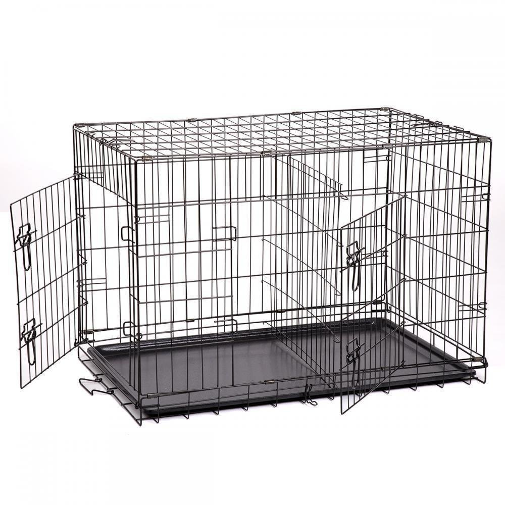 "Folding Black 48"" 2 Door Pet Dog Cage Kennel w Divider Cat Cage Kennel w Tray by"