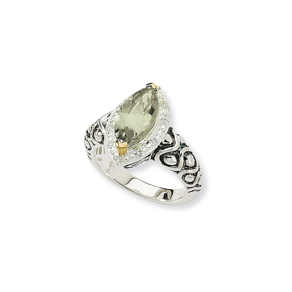 Sterling Silver with 14k Yellow Gold 3 Green Amethyst Ring