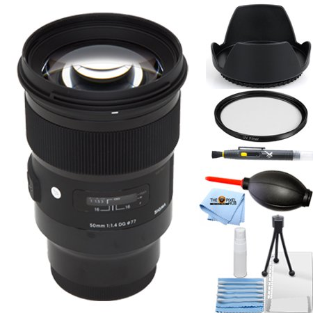 Sigma 50mm f/1.4 DG HSM Art Lens for Sony E #311596 STARTER BUNDLE with Tulip Hood Lens, UV Filter, Cleaning Pen, Blower, Microfiber Cloth and Cleaning