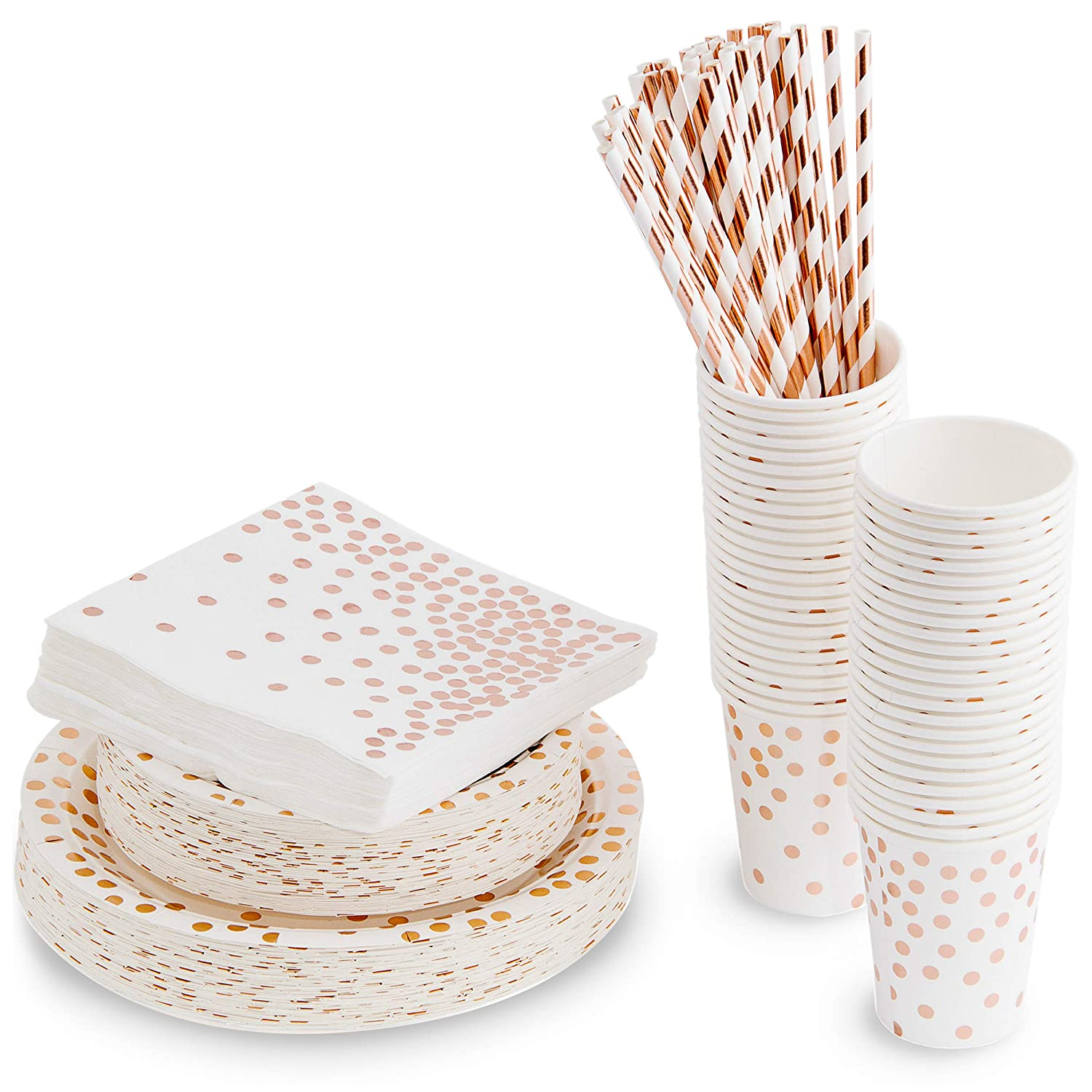 250 Piece Polka Dot Rose Gold Disposable Paper Plates And Party Supplies Includes 50 Disposable Plates 50 Dessert Plates 50 8 Ounce Cups 50 Paper Straws 50 Napkins Decorative Dinnerware Walmart Com Walmart Com