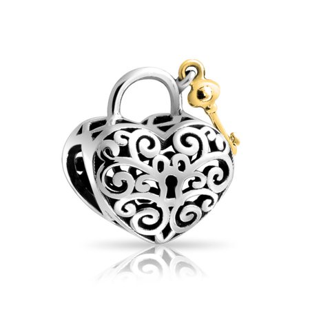 Plated Womens Charm - Lovers Filigree Lock Key Heart Charm Bead For Women Two Tone 14K Gold Plated 925 Sterling Silver Fits European Bracelet