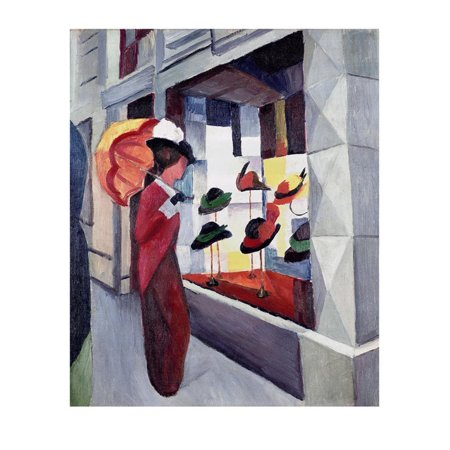 Woman with Parasol in Front of a Hat Shop, 1914 Print Wall Art By Auguste Macke](Art Shops)
