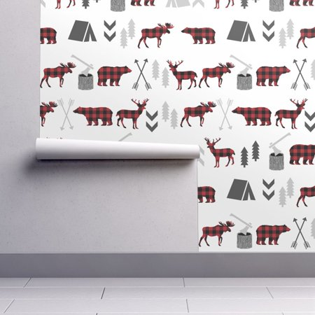 Peel-and-Stick Removable Wallpaper Bear Bear Moose Woodland Forest Boys Baby Boy