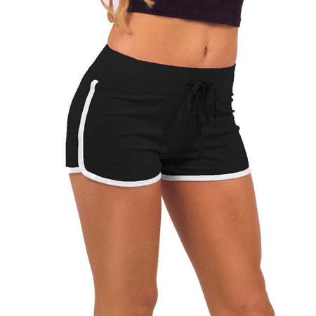 Fast Drying Women Shorts Block Elastic Waist Short Pants With Drawstring