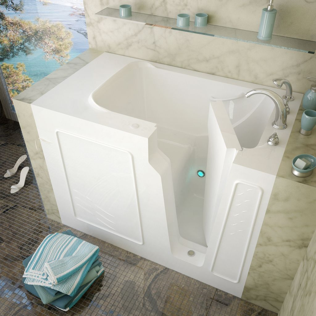 Meditub 29x52 Right Drain White Soaking Walk-In Bathtub