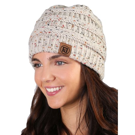 a3e84616dc4 Funky Junque s FJ Knit Cap Women s Men s Winter Hat Soft Slightly Slouchy  Confetti Beanie - Oatmeal - Walmart.com