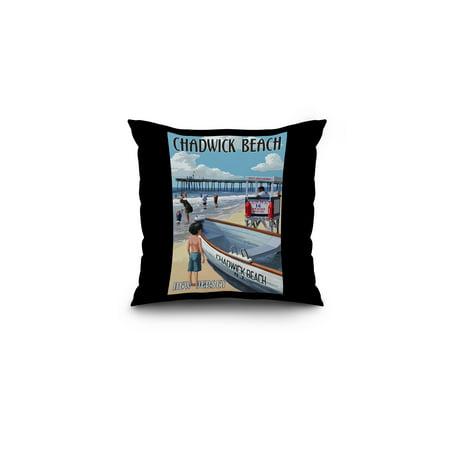 Chadwick Beach, New Jersey - Lifeguard Stand - Lantern Press Artwork (16x16 Spun Polyester Pillow, Black - Portable Lifeguard Stand