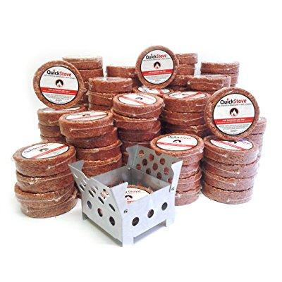 multi fuel camp and survival stove + 3 month supply of fuel (108 fuel disks) - great portable outdoor cooking kit for emergency preparedness, camping, hiking, and any outdoor activity by quickstove.
