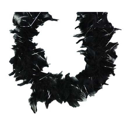 Mini Chandelle Feather Boa Black w Silver Lurex 25 gm 36 in Kids Dress up size costume 3 Ft (Black Boa Feathers)