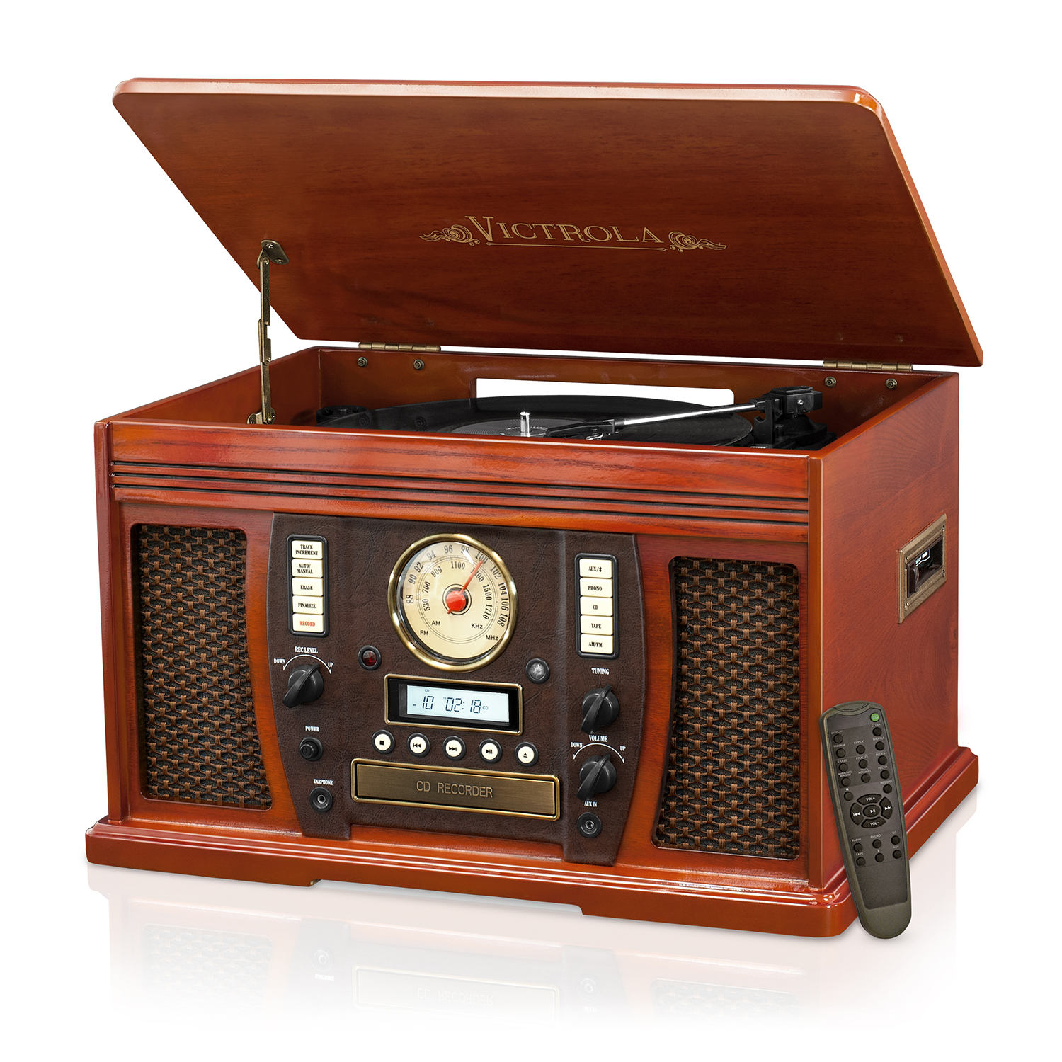 Victrola Wood 7-in-1 Nostalgic Bluetooth Record Player with CD Encoding and 3-speed Turntable Piano Finish