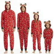 Christmas Family Matching Hoodie Pajamas Reindeer Romper Long Sleeve One Piece Jumpsuit Zipper Pjs for Adult Kids Baby