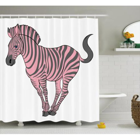 Pink Zebra Shower Curtain, Naturalistic Baby Zebra in Funny Pose Zoo Wild Horse Kids Childish Theme, Fabric Bathroom Set with Hooks, 69W X 70L Inches, Pale Pink Dimgrey, by Ambesonne