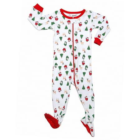 Leveret Green Reindeer Footed Pajama Sleeper 100% Cotton 3 Years - Reindeer Pajamas For Adults