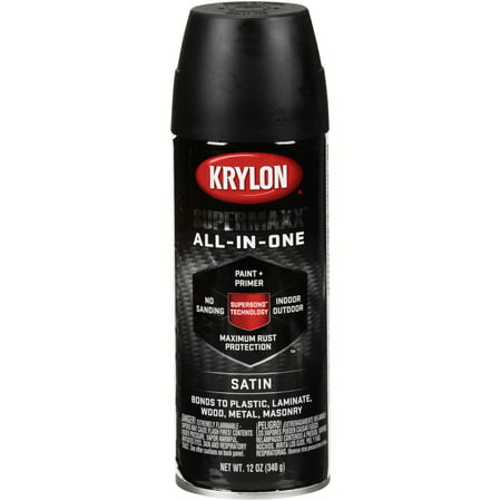 Satin Finish Aerosol Paint - Krylon® Supermaxx® All-In-One Satin Black Spray Paint 12 oz. Aerosol Can