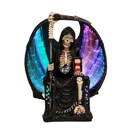 Grim Reaper Crystal Ball Fiber Optic Statue Figurine Gothic Fantasy (Fantasy Fiber)