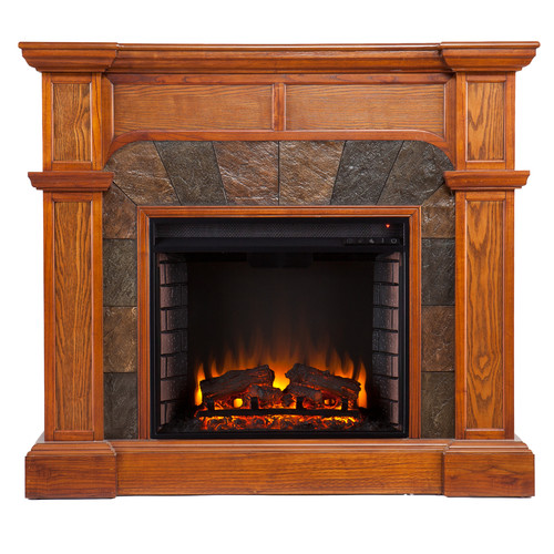 Southern Enterprises Cartwright Mission Oak Convertible Slate Electric Fireplace