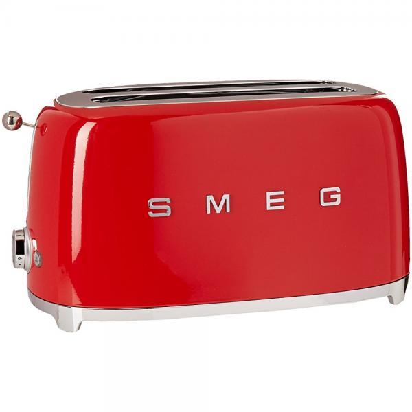 Smeg TSF02RDUS 50's Retro Style 4 Slice Toaster, Red