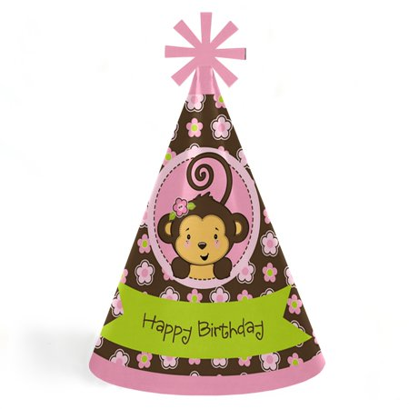 Monkey Girl - Cone Happy Birthday Party Hats for Kids and Adults - Set of 8 (Standard Size) (Monkey Hats)