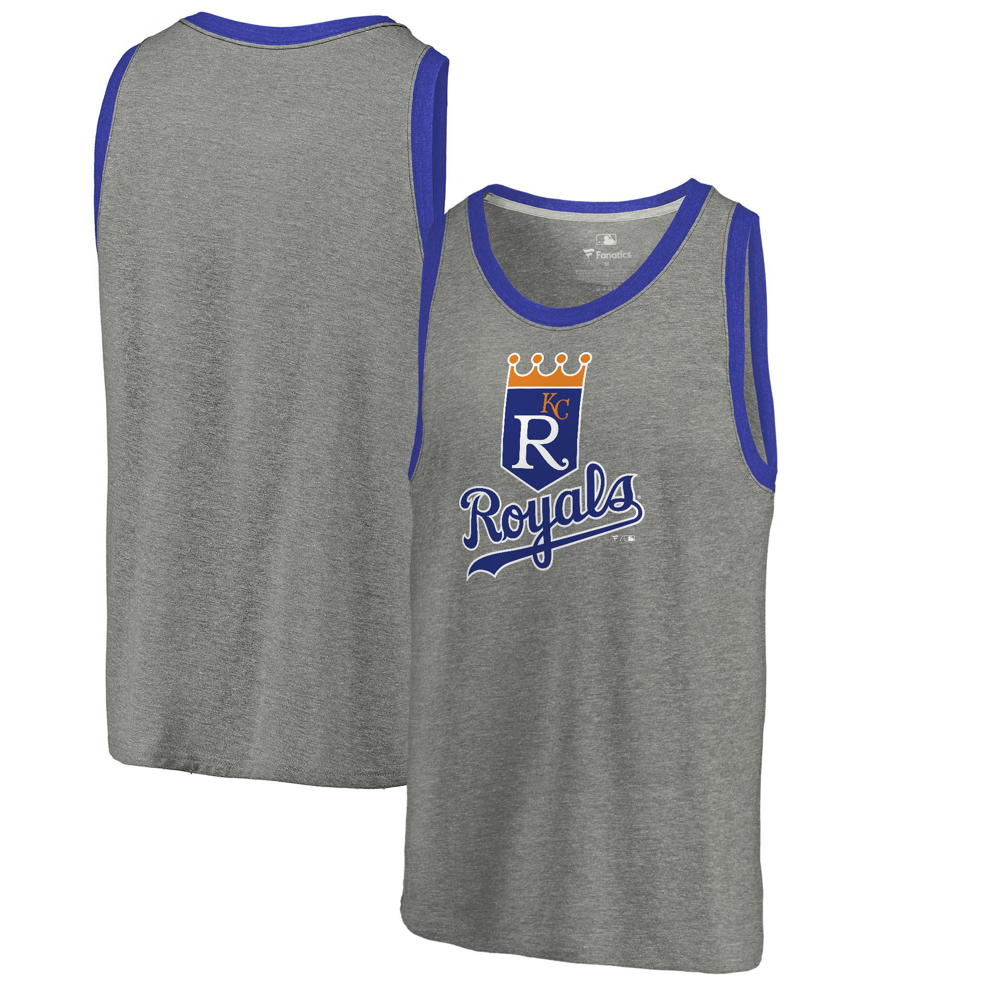 Kansas City Royals Fanatics Branded Cooperstown Collection Huntington Tri-Blend Tank Top - Heathered Gray