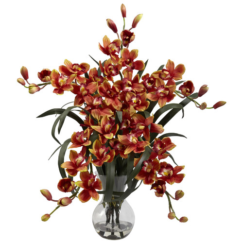 Nearly Natural Large Cymbidium with Vase Arrangement