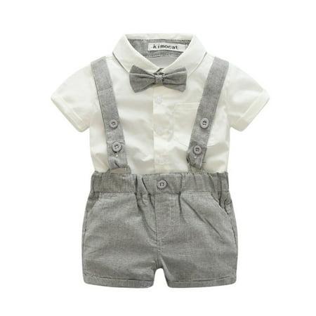 Newborn Baby Boys Wedding Formal Suit Bowtie Gentleman Romper Tuxedo Outfit](Baby Outfit Wedding)