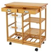 ZENSTYLE Rolling Wood Kitchen Island Storage Trolley Utility Cart Rack w/Storage Drawers/Baskets Dining Stand w/Wheels Countertop